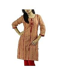 Fashion Freaks Red Cotton Printed Sqaure Neck Kurti - B00R7O8I9W