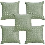Idrape Rexin 5 Piece Cushion Cover Set- Green, 40 Cm X 40 Cm