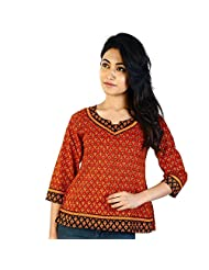 Jaipur RagaDesigner Red Girls Indian Pure Cotton Kurti Red Cotton Kurti