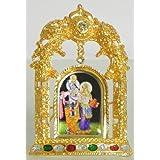 DollsofIndia Bal Gopal On Stone Studded And Golden Carved Metal Frame - Metal Frame - B00LD5FLFA
