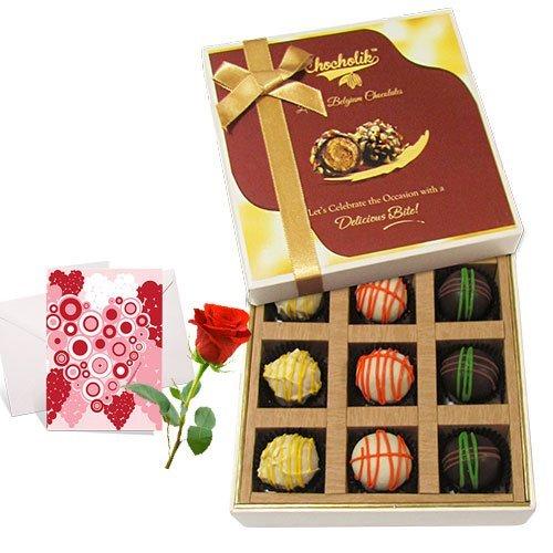 Sweet Admire Of Yummy Chocolates With Love Card And Rose - Chocholik Luxury Chocolates