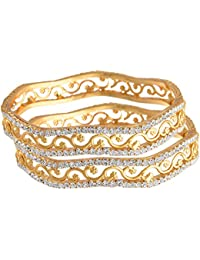 JFL - Traditional Ethnic One Gram Gold Plated Austrian Diamond Designer Bangles For Women.