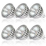 SGL 6W GU5.3 MR16 Bombillas LED Blanco cálido 2700K, 500LM, Lámparas Halógenas Equivalentes a 50W, con Casquillo de aluminio, Iluminación LED 12V, Haz de luz de 40º, 6 Unidades