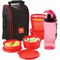 Cello Freshmate Plastic Lunch Box With Bag Set, 5-Pieces, Red/Pink