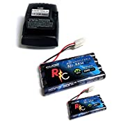 Two (2) Digital Energy 9.6 V, 2000m Ah Flat Ni Mh High Power Rc Battery Packs And A Charger With Tamiya Connectors...