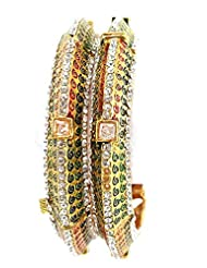 Aria Traditional Enamel Gold Plated 2pc Screw Bangles For Women