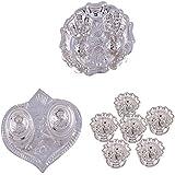 GS MUSEUM Silver Plated Rani Kumkum Plate, Silver Plated Pan Kumkum Plate And Silver Plated Set Of 6 Devdas Deepak