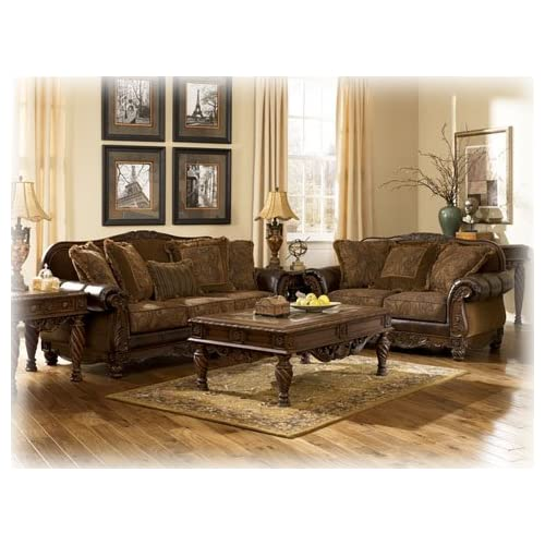 amazon com furniture living room fresco durablend antique 4 pc living room 20503