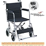 "Chaithanya Premium Lightweight Steel Transport Wheelchair, Fixed Full Arms, 19"" Seat."