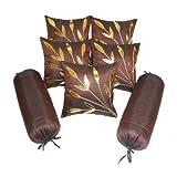 Zikrak Exim Brown Bolster & Cushion Cover Red 7 Pcs Set 30 X 60 Cms(bolster), 30 X 30 Cms (cushion)