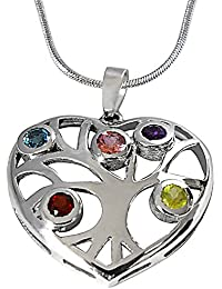Surat Diamond Precious Gemstones In 925 Sterling Silver Heart Pendant For Girls With 18 IN Silver Finished Chain...
