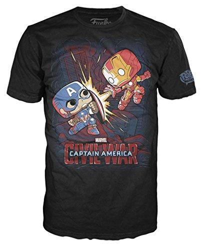 Marvel Civil War Captain America iron Man Fight T-shirt (Medium,Black)