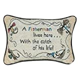 Manual Woodworkers & Weavers A Fisherman Lives Here Pillow 12-1/2 By 8-1/2-Inch