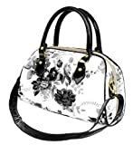 Exquisite Black and White Floral Painting Top Handle Bowler Satchel Handbag Purse Convertible Shoulder Bag