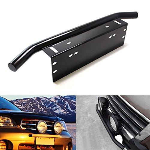 iJDMTOY® Bull Bar Style Front Bumper License Plate Mount Bracket Holder For Off-Road Lights, LED Work Lamps, LED Lighting Bars, etc (Black, Universal Fit)