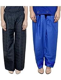 IndiWeaves Women Full Cotton Chikan Black Palazzo With Cotton Blue Chaudi Lace Semi- Patiala Salwar - Free Size (Pack Of 1 Palazzo With 1 Patiala Salwar)