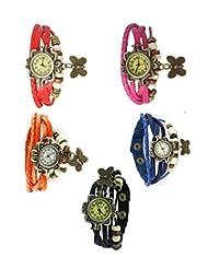Felizo Combo Offer Pack Of 5 Multi Strap Fancy Butterfly Bracelet Vintage Watch (Red, Orange, Black, Blue & Pink)