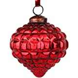 EarthenMetal Handcrafted Red Coloured Christmas Glass Decoratives / Hanging Ball-5 Inch - B01N4EBY2W