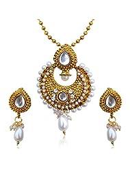 Dancing Girl Pearl Pendant Set For Women Golden - MINE0101WH