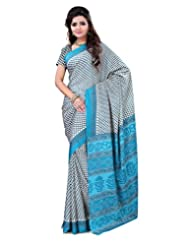 Surat Tex Cream & Green Crepe Daily Wear Sarees For Sale With Blouse Piece