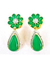 Floral Emerald Drop Earrings
