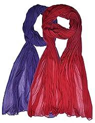 Womens Cottage Combo Pack Of 2 Chiffon Dupatta Red & Purple