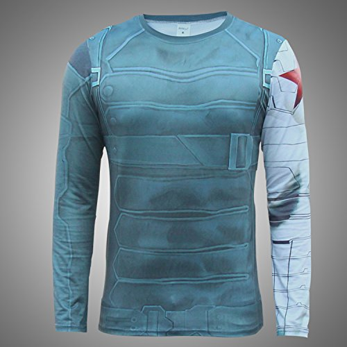 Men's Long Winter Soldier Steel Arm Long Sleeve Cosplay T-shirt