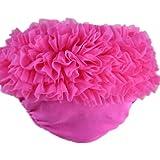 Buenos Ninos Baby Girl's Cotton Shorts And Briefs Chiffon Ruffle Bloomers Hot Pink S