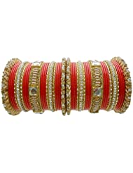 Orange Lac Bridal Chura Wedding Bangles Set By My Design(size-2.4)