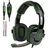 Green : New Xbox One PS4 Gaming Headset With Mic Volume Control, SADES SA930 Stereo Headphone For PC Laptop Mac...