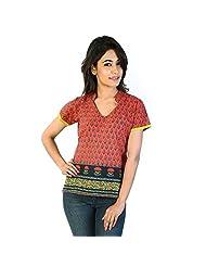 Jaipur RagaExclusive Hand Block Printed Red Cotton Kurti Red Girls Kurti