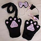 Cute Black Plush Cat Gloves Paw Ear Hairclip Tail Bow Fancy Lolita Girls Cosplay by TANZK