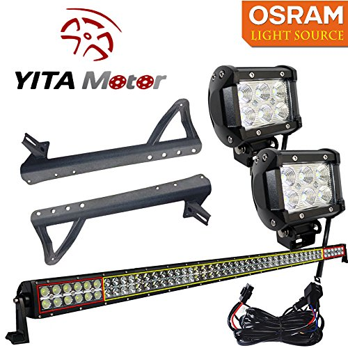 "YITAMOTOR OSRAM 300W 52"" LED Bar + 2X 18W Spot LED Light + Mounting Bracket + Wiring for 07-15 JEEP JK Wrangler"