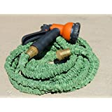 50-foot Expandable Garden Hose With Brass Connectors And 8-pattern Sprayer