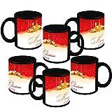 Christmas Gifts HomeSoGood Christmas And New Year Black Ceramic Coffee Mug - 325 Ml (Set Of 6)
