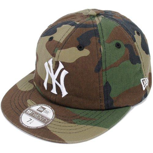 NEWERA WASHED COTTON 8PANEL CAP YANKEES(MLB) WOODLAND CAMO/WHITE N0018831 ニューエラ ウォッシュド コットン エイトパネル キャップ ヤンキース ウッドランド カモフラージュ/ホワイト [迷彩 帽子 ストリート スケーター ダンス ヒップホップ HIP HOP]