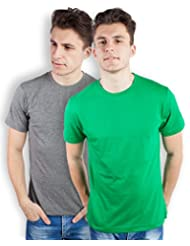 TOMO Men's Cotton Solid Color Round Neck T-shirt Combo Pack Of 2 - B00ZRLJ5HQ