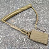 Generic Outdoor Military Tactical Spring String Buckle Key Chain Safety Cord Carabiner Hook Strap Lanyard-Khaki