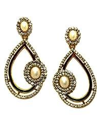 La Trendz Golden Alloy Hanging Earrings