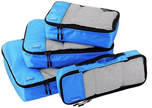 AmazonBasics Lot de 4 sacoches de rangement pour bagage Tailles S/M/L/Slim, Bleu