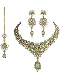 I Jewels Traditional Gold Plated Kundan Necklace Set With Maang Tikka For Women(Light Green)(K7004P)