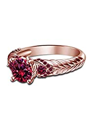 14K Rose Gold Over 925 Silver Disney Aurora Princess Engagement Ring Size 7 For Women's