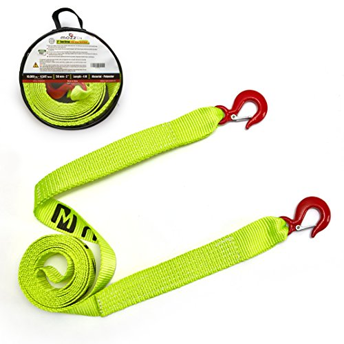 Tow Strap 2 inch with Alloy Steel latch Hooks, 4m 10,000 LB Towing and 4.54T Breaking Capacity