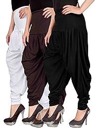 Navyataa Women's Lycra Dhoti Pants For Women Patiyala Dhoti Lycra Salwar Pant Free Size (Pack Of 3) White , Brown...