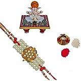 ECraftIndia Designer Pearl Single Rakhi With Lord Ganesha Marble Chowki And Roli Tikka Matki - B01IVBMDEK
