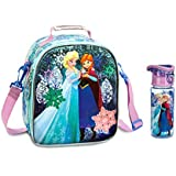 Disney Frozen Lunch Tote With Bonus Matching Water Bottle - 2 Item Bundle