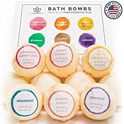 Earth Essence Bath Bomb Gift Set, No Chemicals, No Mess Organic Bath Bombs Luxurious & Nourishing for Relaxation & Softer Skin Fizzy Bath Bomb, Lavender & Other Pure EO Fragrances