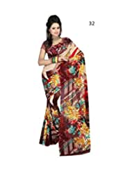 Daily Wear Brown Floral Print Georgette Saree