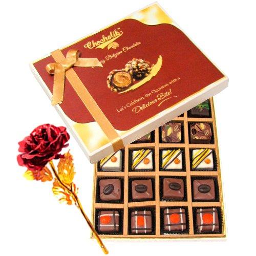 Tempting Chocolate Gift Box With 24k Red Gold Rose - Chocholik Belgium Chocolates