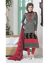 Designer Dress Material Orange Green Pink Semi Stiched Straight Cut Salwar Kameez Suit.